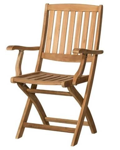 Skladacia stolička s podrúčkami CAMBRIDGE 2 teakové drevo