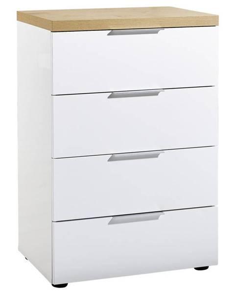 Xora Xora KOMODA, biela, farby dubu, 60/89/43 cm - biela, farby dubu