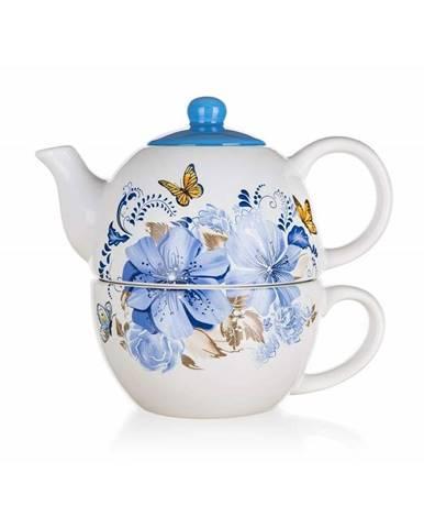 Banquet Kanvička keramická so šálkou BLUE FLOWER