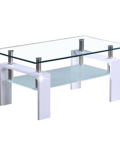 Konferenčný stolík biela extra vysoký lesk HG/sklo LIBOR NEW