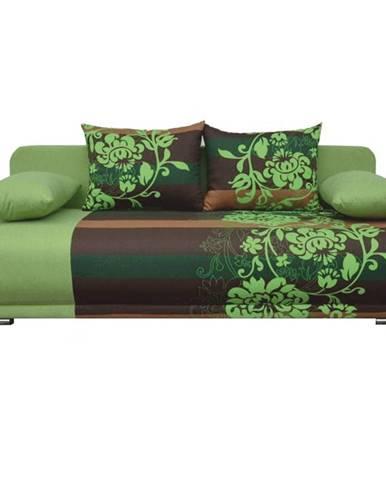 Pohovka rozkladacia zelená/hnedá/vzor kvetov REMI NEW