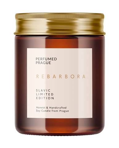 Sviečka zo sójového vosku s vôňou rebarbory Perfumed Prague, doba horenia 40 h