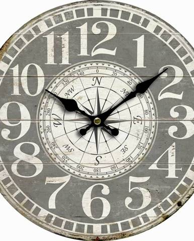 Drevené nástenné hodiny Vintage compass, pr. 34 cm