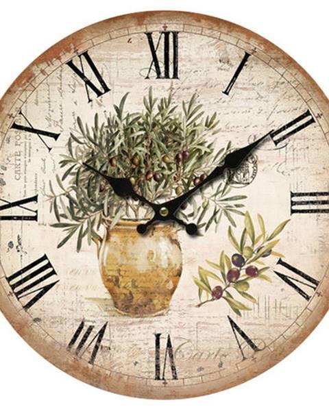 Orion Drevené nástenné hodiny Vintage olives, pr. 34 cm