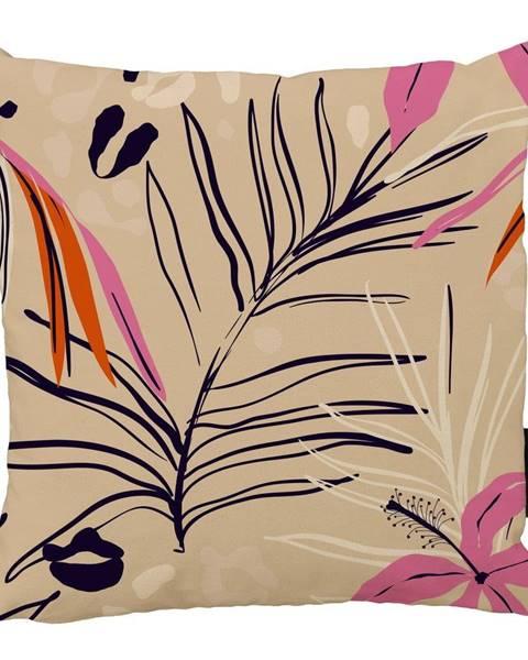 Butter Kings Béžovo-ružový bavlnený dekoratívny vankúš Butter Kings Jungle in Spring, 50 x 50 cm
