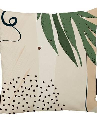 Béžový bavlnený dekoratívny vankúš Butter Kings Abstract Art, 50 x 50 cm