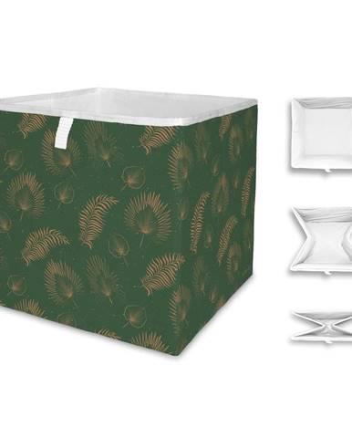 Zelený úložný box z mikrovlákna Butter Kings Boho Leaves, 32 l