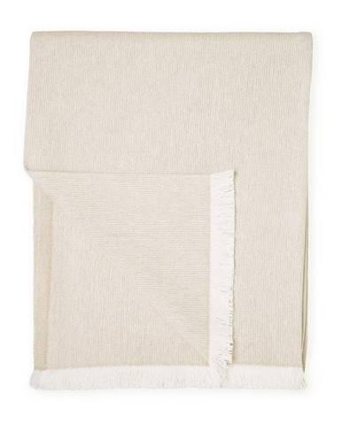 Béžový pléd s podielom bavlny Euromant Summer Linen, 140 x 180 cm
