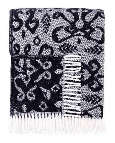 Čierný pléd s podielom bavlny Euromant Mykonos, 140 x 180 cm