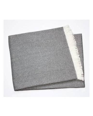 Tmavosivý pléd s podielom bavlny Euromant Skyline, 140×180 cm