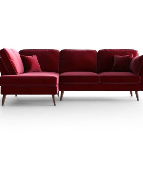 My Pop Design Červená zamatová rohová pohovka My Pop Design Auteuil, levý roh