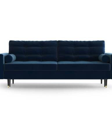 Modrá zamatová rozkladacia pohovka Daniel Hechter Home Aldo