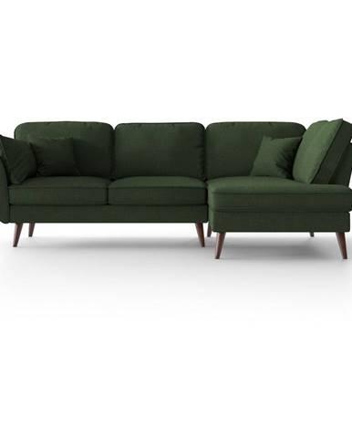 Zelená rohová pohovka My Pop Design Auteuil, pravý roh