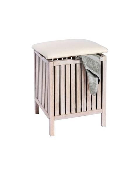 Wenko Biela kúpeľňová stolička s úložným priestorom z orechového dreva Wenko Norway