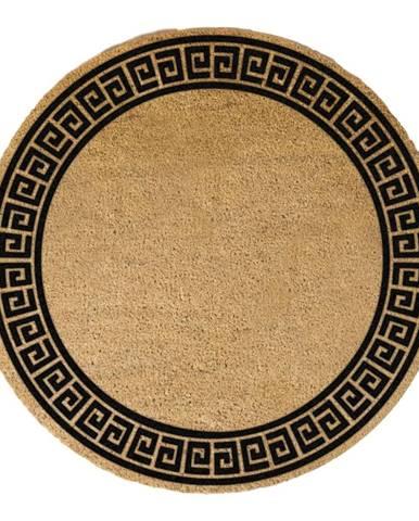 Čierna okrúhla rohožka z prírodného kokosového vlákna Artsy Doormats Greek Border, ⌀ 70 cm