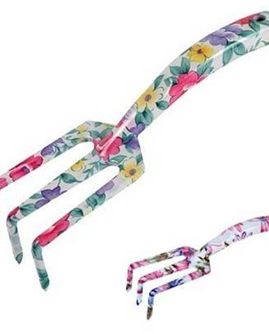 Hrabličky záhradné, dámske, hliník, dĺžka 22,5 cm, kvetinový vzor