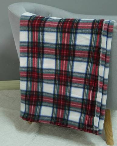 Fleecová deka biela mriežka 170x220