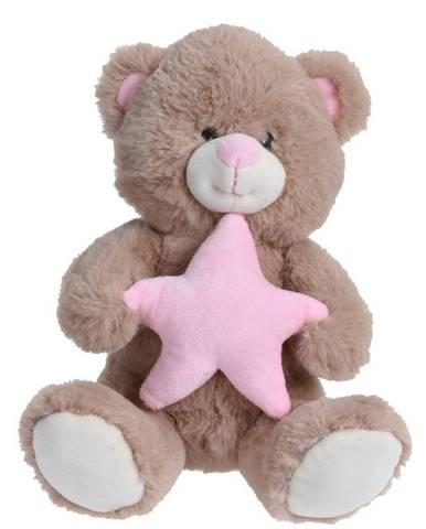 Plyšový medvedík s hviezdou, 23 cm