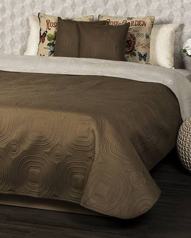 4Home Prehoz na posteľ Doubleface tmavohnedá/svetlohnedá, 220 x 240 cm, 2x 40 x 40 cm