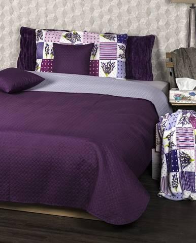 4Home Prehoz na posteľ Doubleface fialová/svetlofialová , 220 x 240 cm, 2x 40 x 40 cm