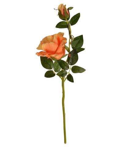 Umelá kvetina Čajová ruža oranžová, 47 cm