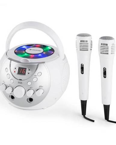 Auna SingSing, biely, prenosný karaoke systém, LED, prevádzka na batérie, 2 x mikrofón