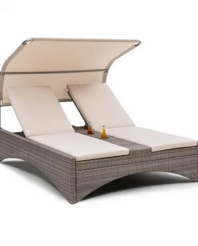 Blumfeldt Eremitage Double Lounger, plážové ležadlo pre 2 osoby, hliník/ratan, tmavošedé