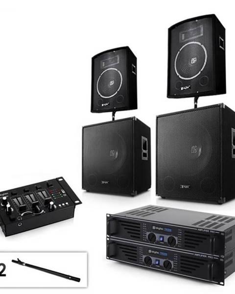 """Electronic-Star Electronic-Star Sada 2.2 PA systému s 2 x zosilňovačom, 2 x 15"""" subwooferom, 2 x 10"""" reproduktorom, mixérom & káblami"""
