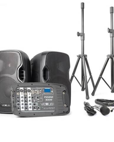 Vexus PSS302, prenosný PA audio systém, 300 W max., bluetooth, USB, SD, MP3, 2 x statív, 1 x mikrofón