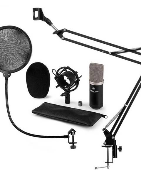 Auna Auna CM003 mikrofónová sada V4 kondenzátorový mikrofón XLR mikrofónové rameno pop filter čierna farba