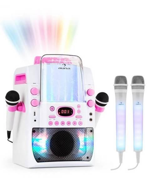 Auna Auna Kara Liquida BT ružová farba + Dazzl mikrofónová sada, karaoke zariadenie, mikrofón, LED osvetlenie
