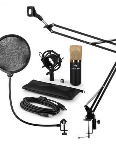 Auna MIC-900BG, USB mikrofónová sada V4, zlatá, kondenzátorový mikrofón, pop filter, mikrofónové rameno