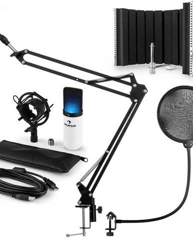 Auna MIC-900WH-LED V5, biela, mikrofónová sada, kondenzátorový mikrofón, pop-filter, resorpčný panel, rameno, LED
