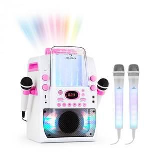 Auna Kara Liquida BT ružová farba + Dazzl mikrofónová sada, karaoke zariadenie, mikrofón, LED osvetlenie