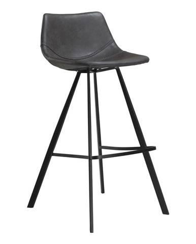 Sivá barová stolička z eko kože s čiernou kovovou podnožou DAN–FORM Denmark Pitch