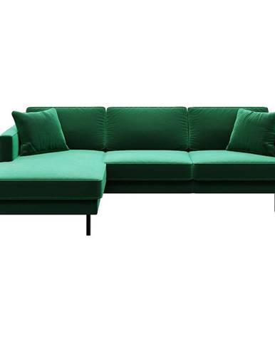Zelená zamatová rohová pohovka MESONICA Kobo, ľavý roh