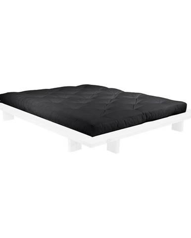 Dvojlôžková posteľ z borovicového dreva s matracom Karup Design Japan Comfort Mat White/Black, 160 × 200 cm