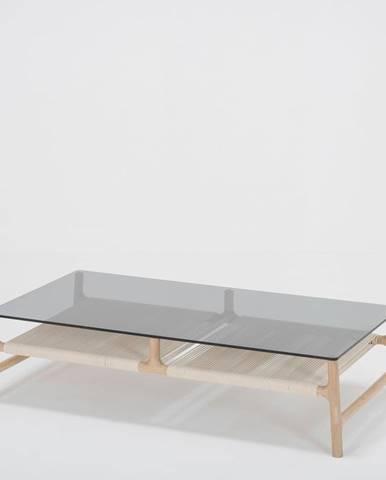 Konferenčný stolík s konštrukciou z masívneho dubového dreva a sivou doskou Gazzda Fawn, 120 x 60cm