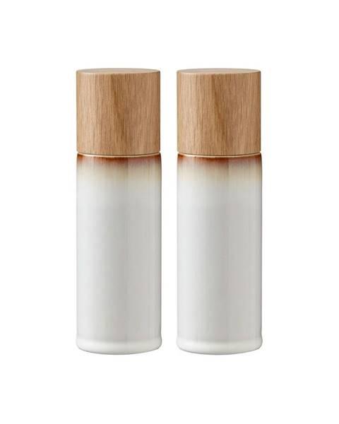Bitz Súprava 2 krémovobielych kameninových mlynčekov na soľ a korenie Bitz Basics Cream