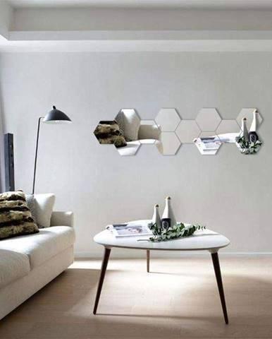 Sada 12 adhezívnych zrkadlových samolepiek Ambiance Hexagonal Mirror, 20 x 17 cm