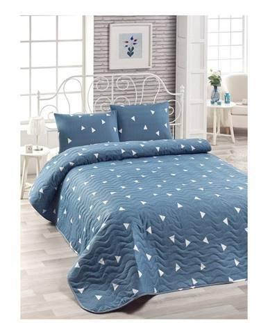 Set modrej bavlnenej prikrývky cez posteľ a 2 obliečok na vankúše Lesso Duro, 200×220 cm