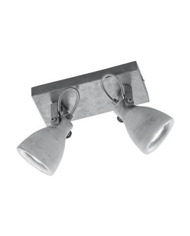 Sivé nástenné svietidlo na 2 žiarovky Trio Concrete, dĺžka 23 cm