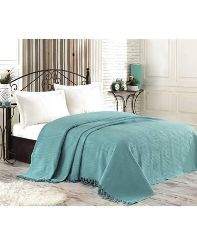 Modrý bavlnený pléd cez posteľ na dvojlôžko Şaheser, 220×240 cm