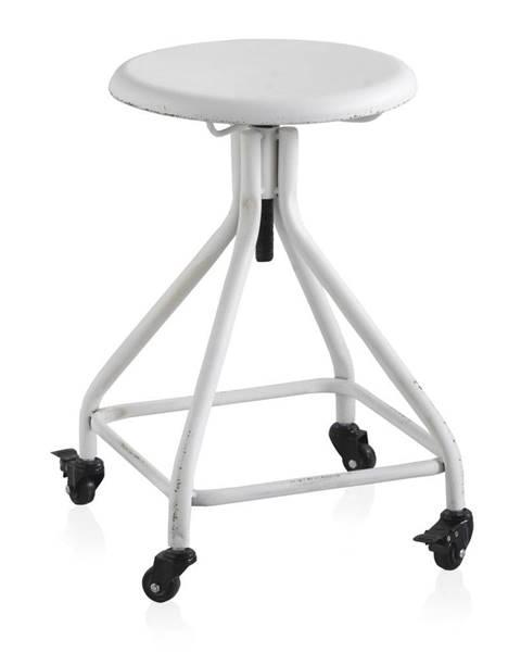 Geese Biela kovová pojazdná stolička na kolieskach s nastaviteľnou výškou Geese Industrial Style