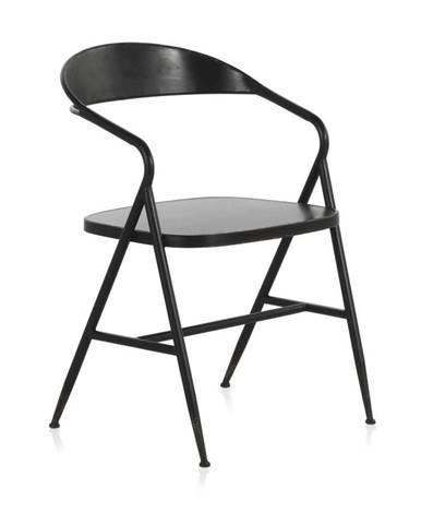 Čierne kovové kreslo Geese Industrial Style Puro