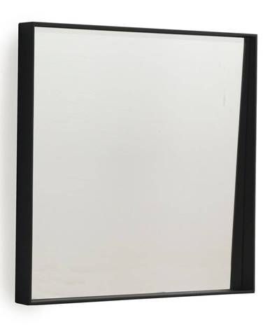 Čierne nástenné zrkadlo Geese Thin, 40×40 cm