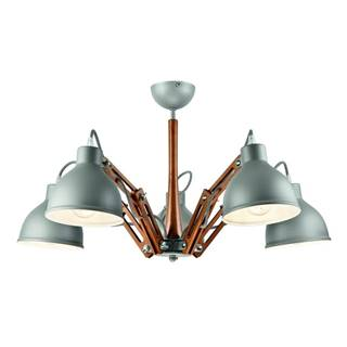 Sivé závesné svietidlo na 5 žiaroviek Lamkur Marcello