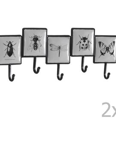 Sada 2 nástenných kovových vešiakov s 5 háčikmi Geese Bugs