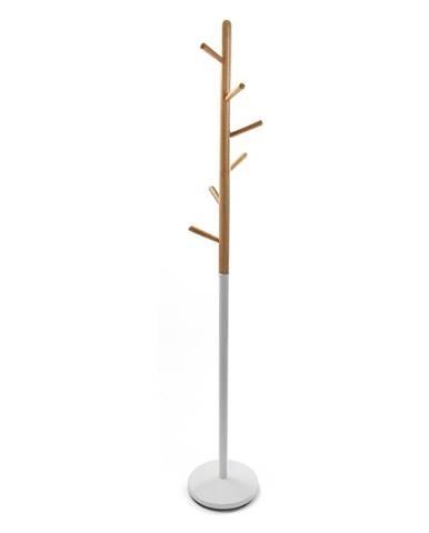 Biely vešiak s drevenými prvkami VERSA Clothes, výška 180cm
