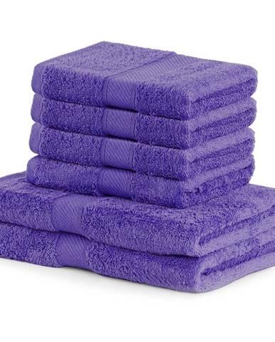 Set 2 tmavofialových osušiek a 4 uterákov DecoKing Bamby